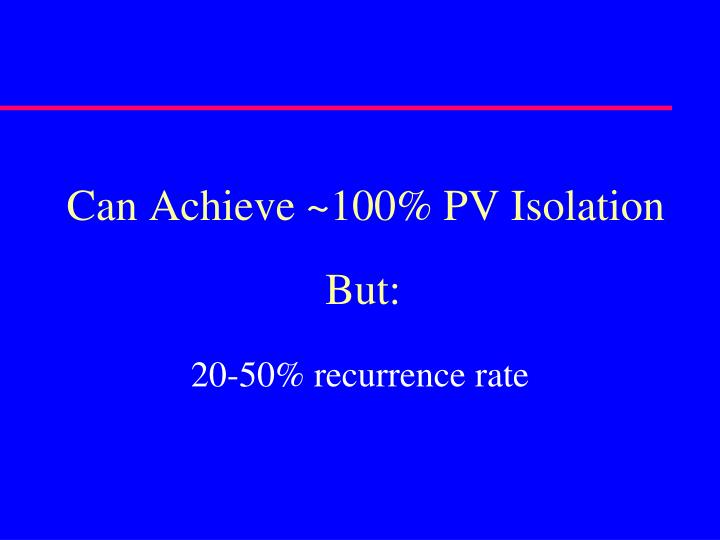 Can Achieve ~100% PV Isolation