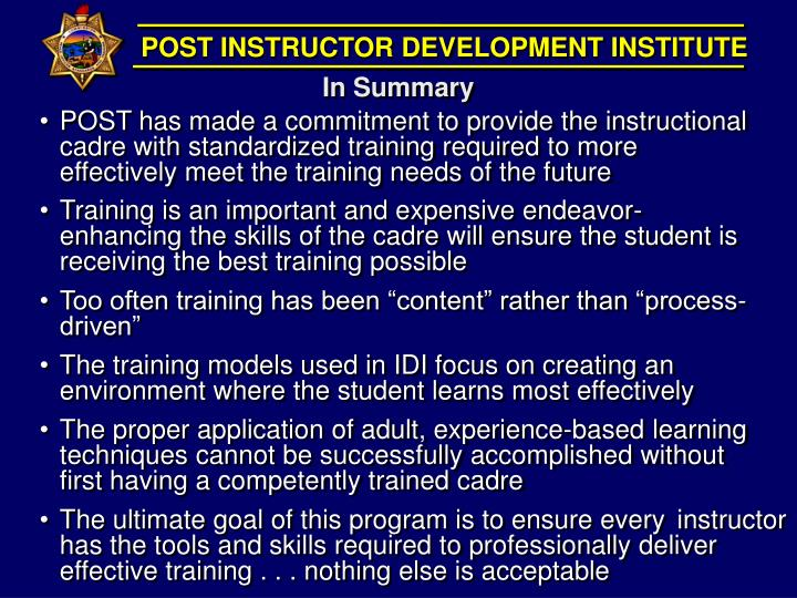 POST INSTRUCTOR DEVELOPMENT INSTITUTE