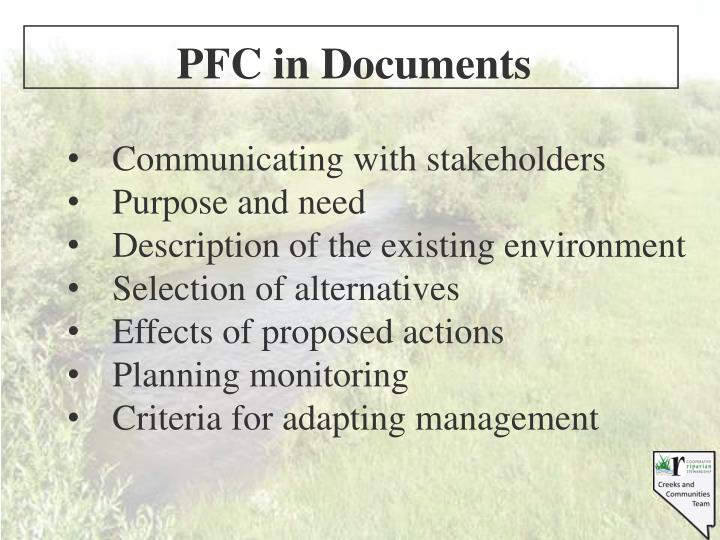 PFC in Documents