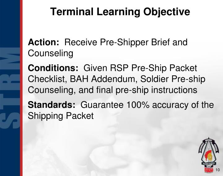 Terminal Learning Objective