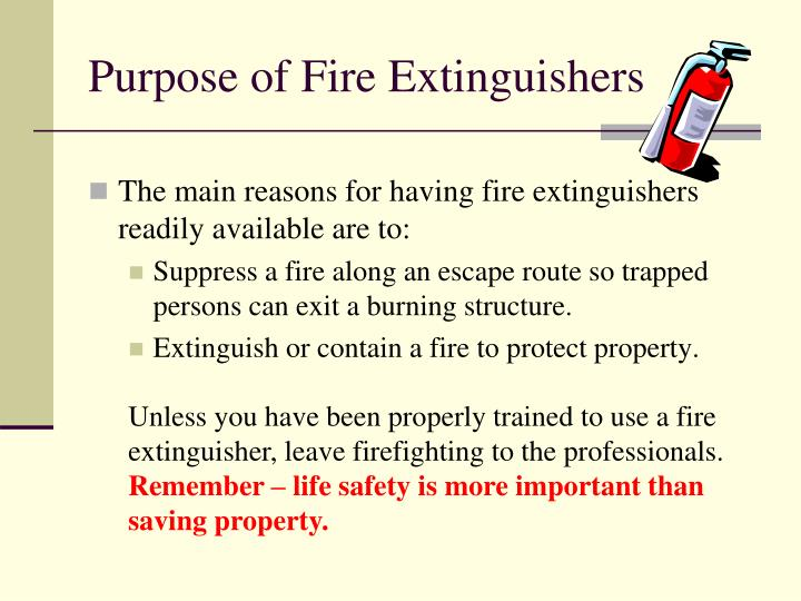 Purpose of Fire Extinguishers