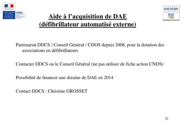 Aide à l'acquisition de DAE (défibrillateur automatisé externe)