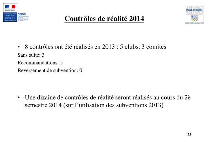 Contrôles de réalité 2014