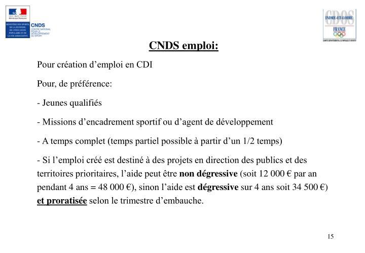 CNDS emploi: