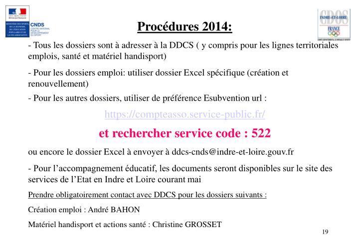 Procédures 2014:
