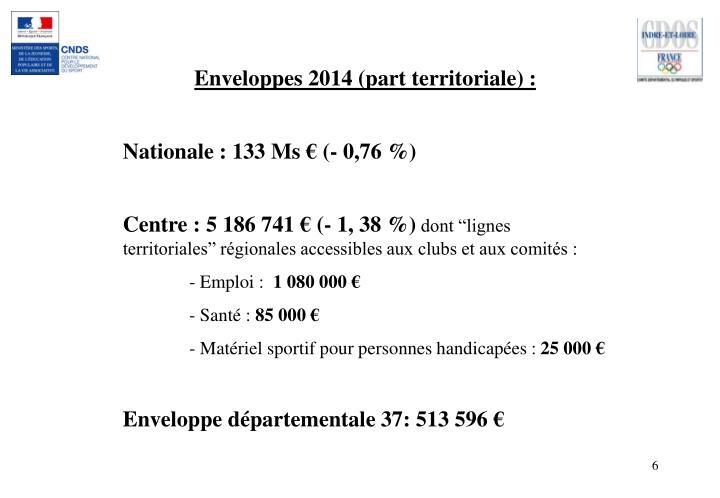 Enveloppes 2014 (part territoriale) :