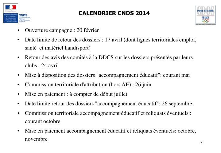 CALENDRIER CNDS 2014