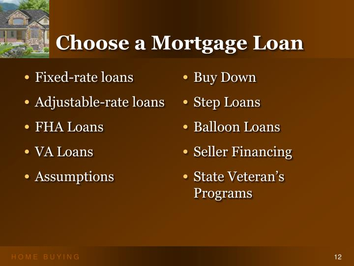 Choose a Mortgage Loan