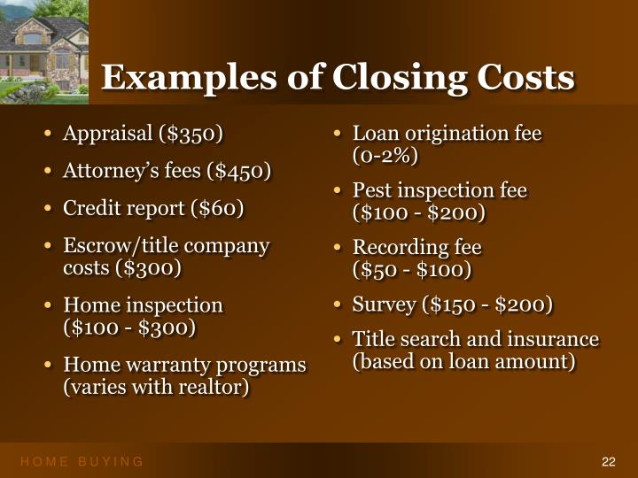 Examples of Closing Costs