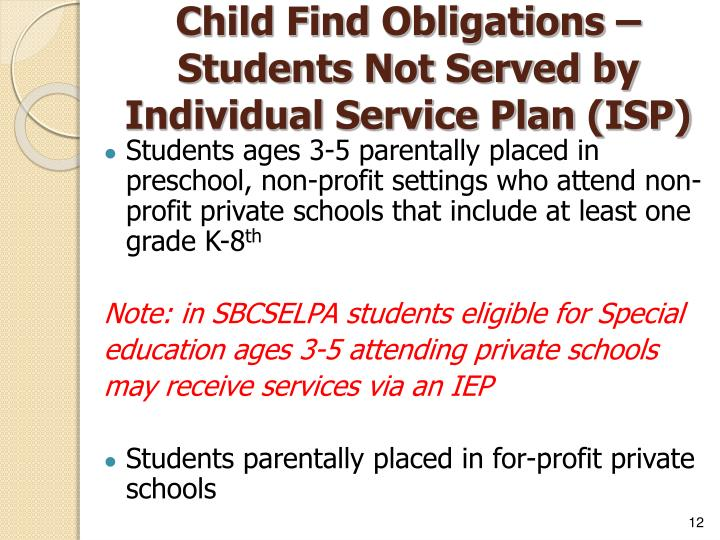 Child Find Obligations – Students Not Served by Individual Service Plan (ISP)