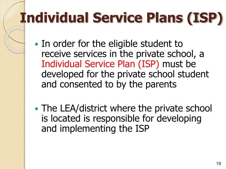 Individual Service Plans (ISP)