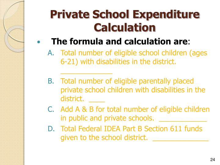 Private School Expenditure Calculation