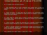 crimes tribut rios art 2 da lei n 8 137 90