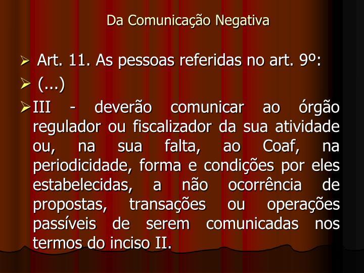 Da Comunicação Negativa