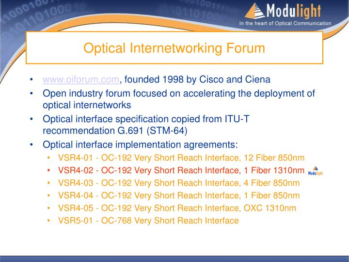 Optical Internetworking Forum