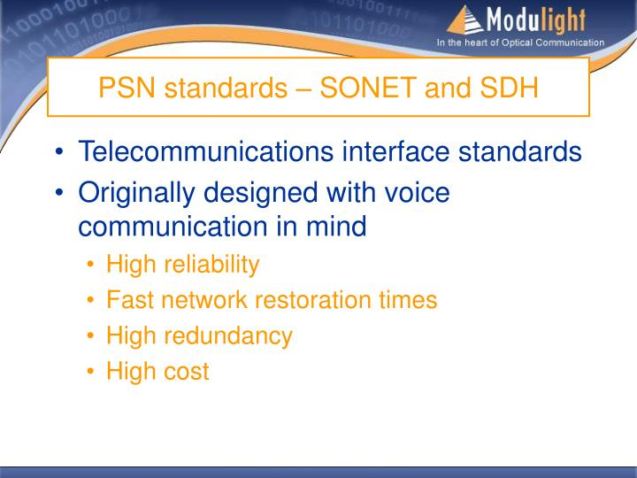 PSN standards – SONET and SDH