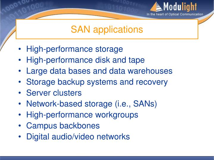 SAN applications