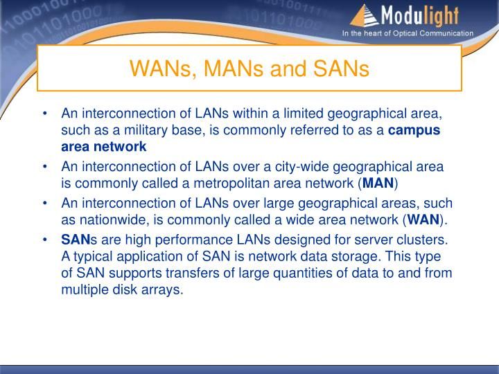 WANs, MANs and SANs