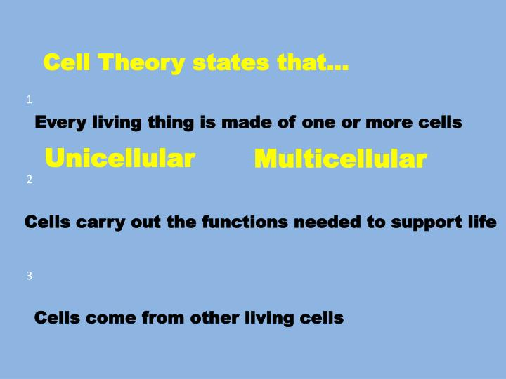 Cell Theory states that…