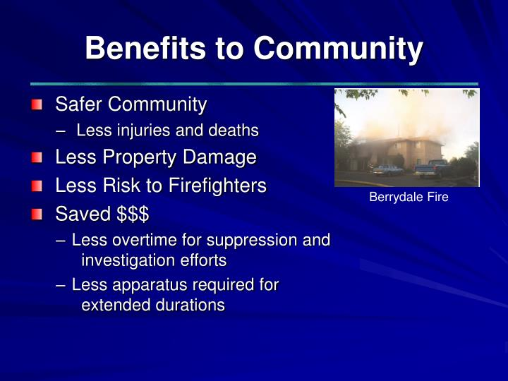 Benefits to Community
