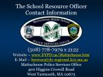 the school resource officer contact information