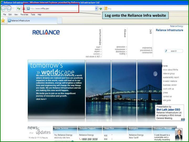 Log onto the Reliance Infra website