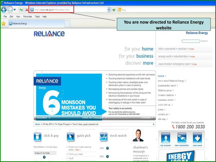 You are now directed to Reliance Energy website