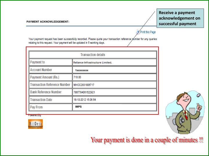 Receive a payment acknowledgement on successful payment