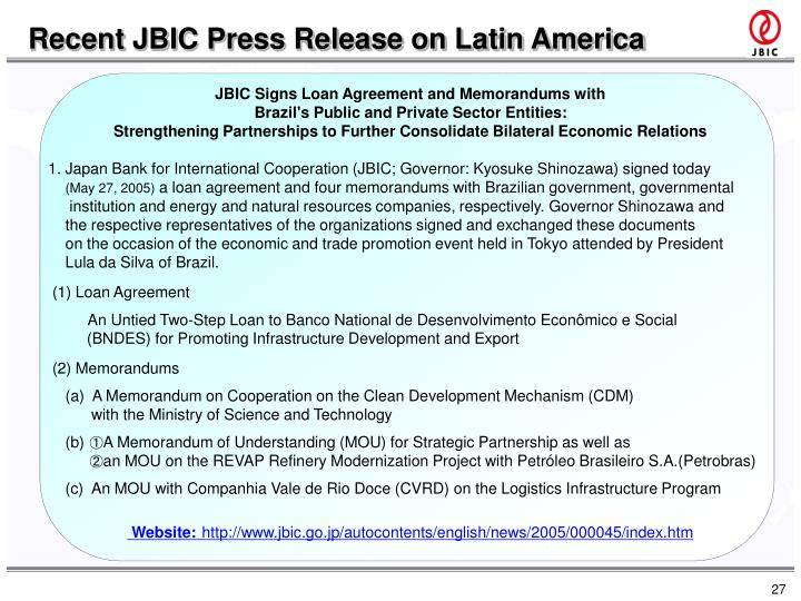 Recent JBIC Press Release on Latin America