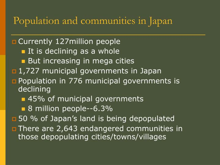 Population and communities in Japan