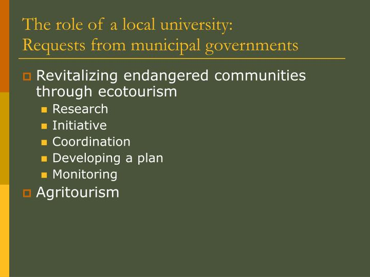 The role of a local university: