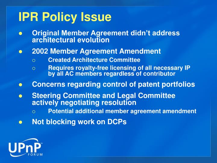 IPR Policy Issue