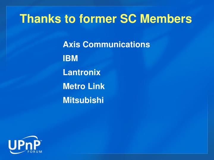 Thanks to former SC Members