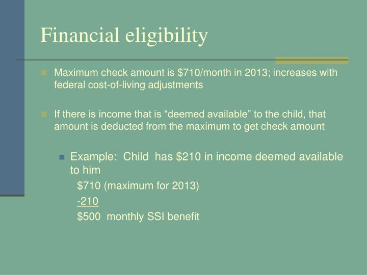 Financial eligibility