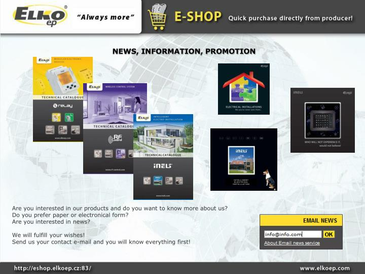 NEWS, INFORMATION, PROMOTION