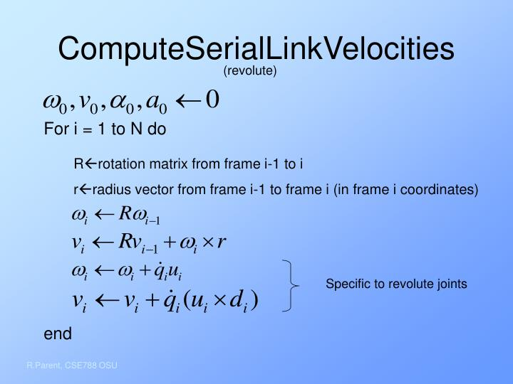 ComputeSerialLinkVelocities
