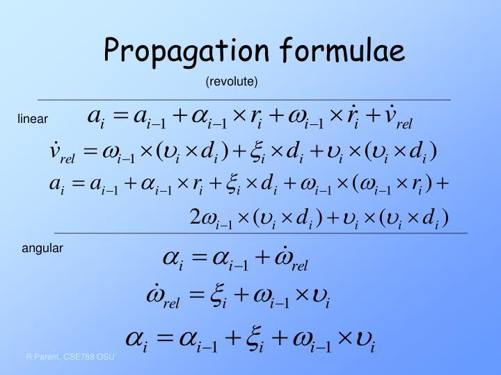 Propagation formulae