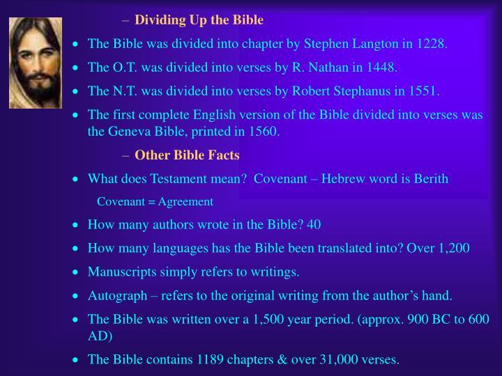 Dividing Up the Bible