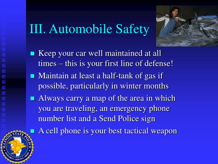 III. Automobile Safety