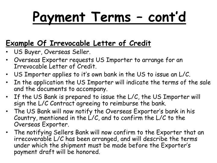 Payment Terms – cont'd