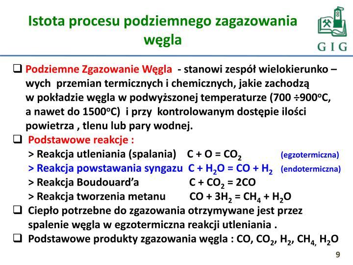 Istota procesu podziemnego zagazowania węgla