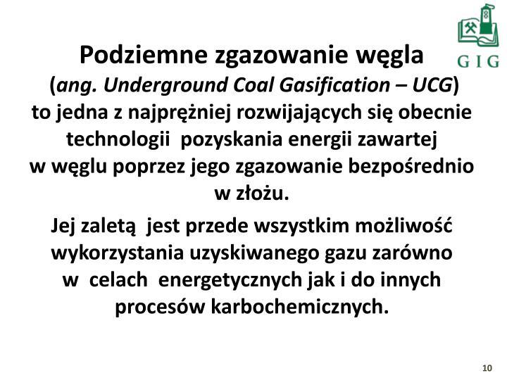 Podziemne zgazowanie węgla