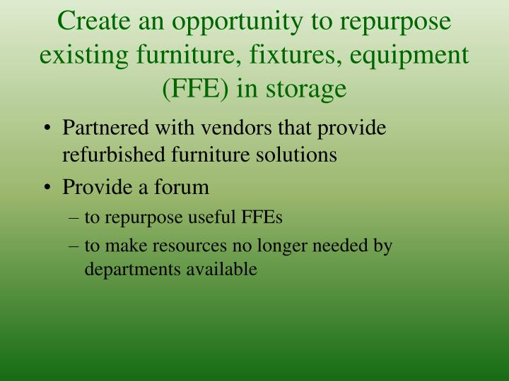 Create an opportunity to repurpose existing furniture, fixtures, equipment (FFE) in storage