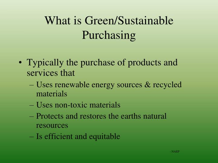 What is Green/Sustainable Purchasing