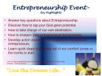 entrepreneurship event key highlights