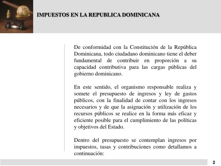 IMPUESTOS EN LA REPUBLICA DOMINICANA