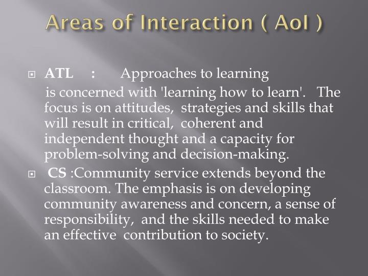Areas of Interaction (