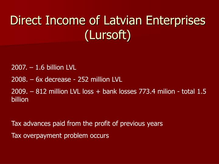 Direct income of latvian enterprises lursoft