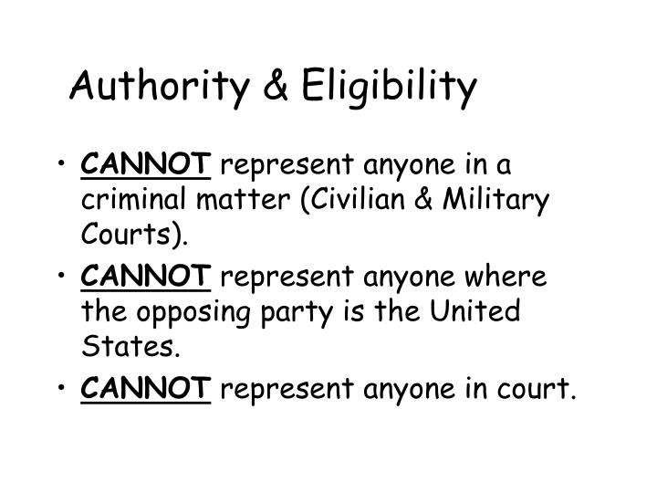 Authority & Eligibility