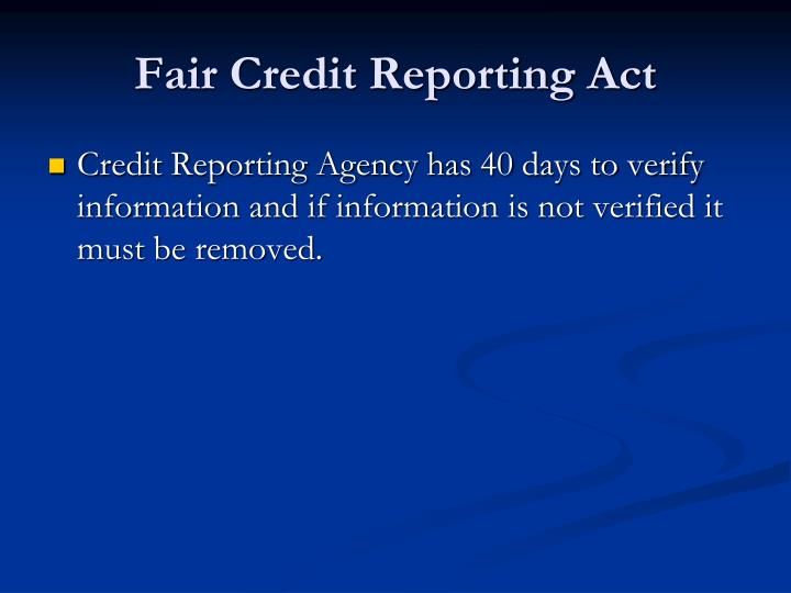 Fair Credit Reporting Act